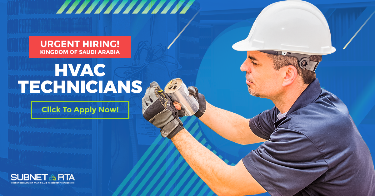 URGENT HIRING 100 HVAC Refrigeration Technicians Bound for Saudi Arabia_091919